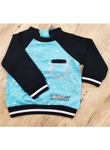 Riccotarz Erkek Bebek Baskılı Cepli Mavi Sweatshirt Renkli